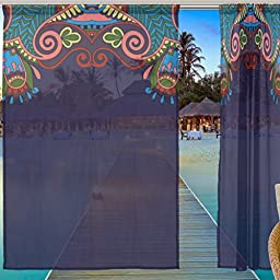 ALAZA Window Sheer Curtain Panels,Christmas Decoration Ethnic Bohemian National Style Floral,Door Window Gauze Curtains Living Room Bedroom Kid\'s Office Window Curtain 55x84inch Two Panels Set