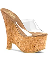 6 1/2 Inch Sexy Casual Shoe Cork Wedge Sandal Sexy Shoes Clear/Cork