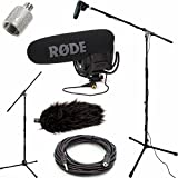 RODE VideoMic Pro R Studio Boom Kit with Wind Muff - VMPR, Boom Stand, Adapter, 25' Cable, and Wind Muff