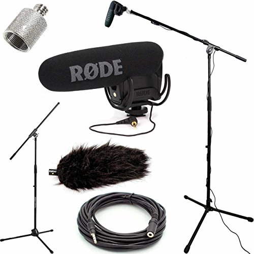 RODE VideoMic Pro R Studio Boom Kit with Wind Muff - VMPR, Boom Stand, Adapter, 25' Cable, and Wind Muff by DVESTORE