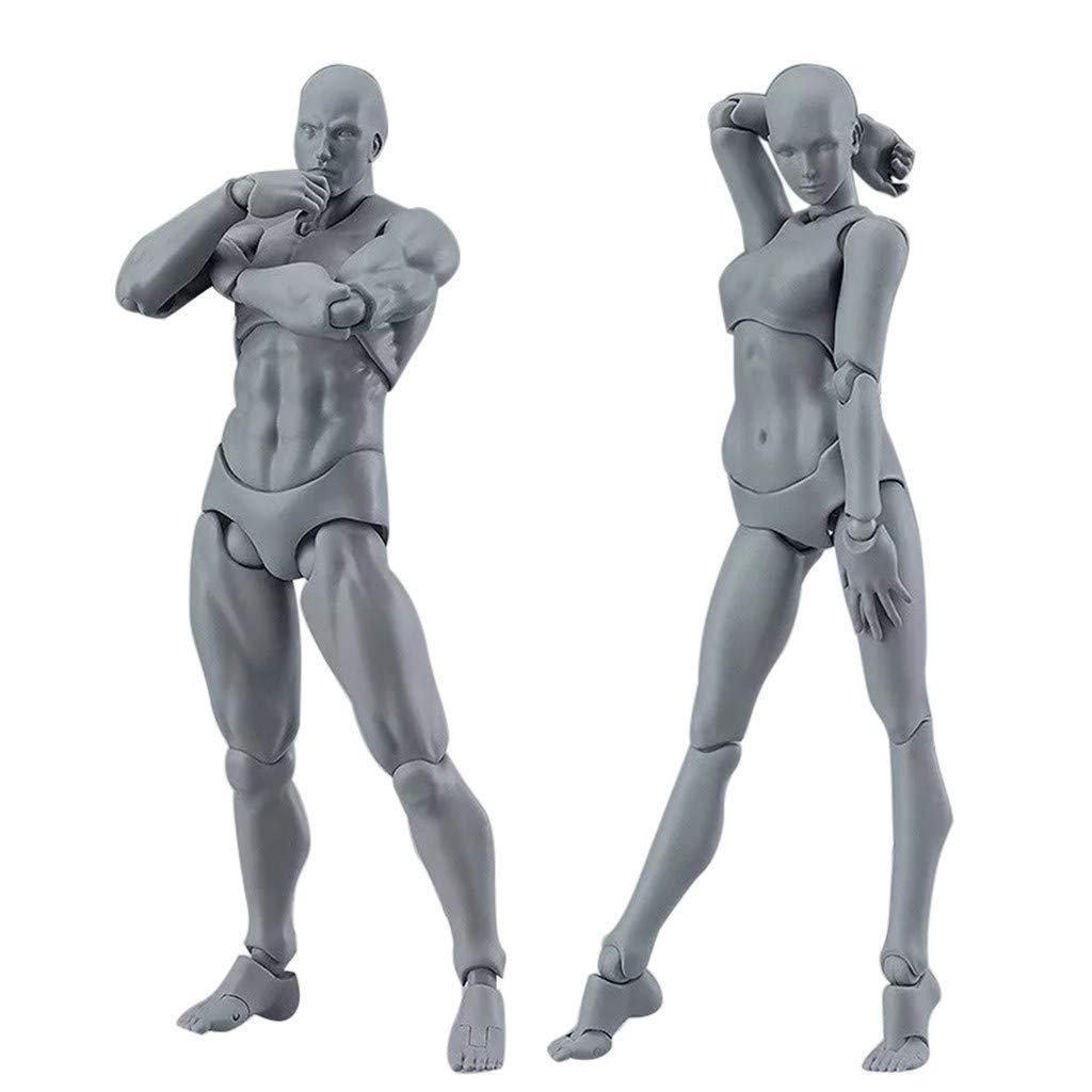 2 Pcs Action Figure Model, Human Mannequin Man/Woman Action Figure Equitment with Accessories Kit, Suitable for Sketching, Painting, Drawing, Artist, Kids, Cartoon Figures Action by ASfairy