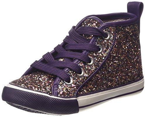 Pumpkin Patch Sparkle Me Hi Tops - Zapatillas para deportes de interior de cuero para niña Púrpura (Purple Passion)