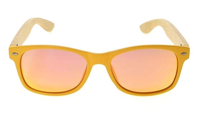 48b65d5f40 Eyekepper Men s Bamboo Wood Arms Classic Polarized Sunglasses Yellow  Frame-Red Mirror  Amazon.co.uk  Clothing