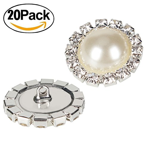 Wholesale 20 PCS 18MM Retro Vintage Round Crystal Ivory faux Pearl Rhinestone Buttons Sew Bulk (Pearl Flower Button)