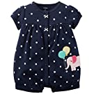 Carter's Baby Girls 1-piece Appliqué Snap-Up Cotton Romper (3 Months, Navy Elephant)