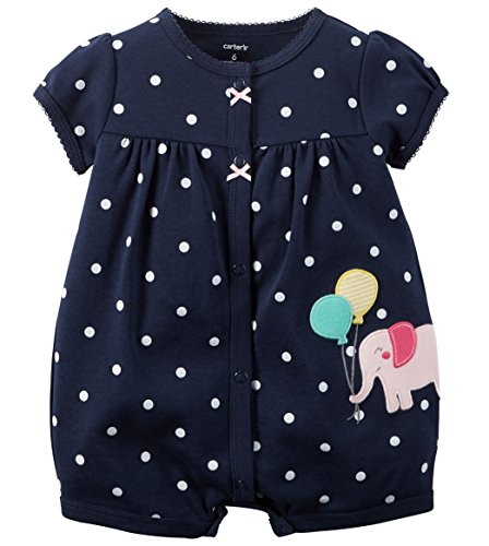 Carters Baby Girls 1-piece Appliqué Snap-Up Cotton Romper (24 Months, Navy Elephant)