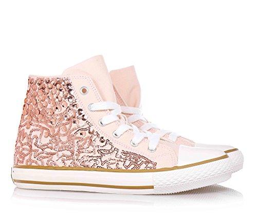 TWIN-SET - Pink Sneakers mit Schnürsenkel, aus Stoff, seitlich ein Reißverschluss, Mädchen, kind, Damen