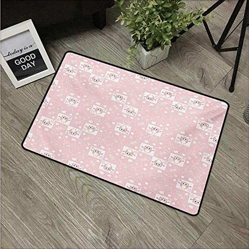 HRoomDecor Kids,Floor mat Pink Owls and Little Birds on Cute Floral Backdrop Girlish Pattern with Swirls W 31