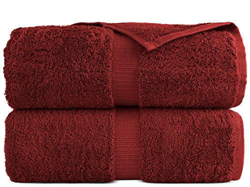 "100% Luxury Turkish Cotton, Eco-Friendly, Soft and Super Absorbent 35"" x 70"" Large Bath Sheets (Cranberry, Set of 2)"