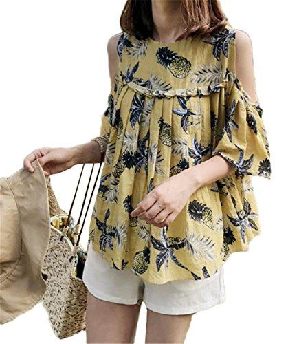 達成おばさんシャンプー[トーダー] アロハシャツ ハワイシャツ パイナップル プリント レディース 日焼け止め服 ブラウス シャツ ゆったり 夏 カジュアル