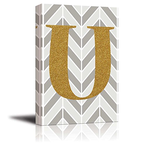 The Letter U in Gold Leaf Effect on Geometric Background Hip Young Art Decor
