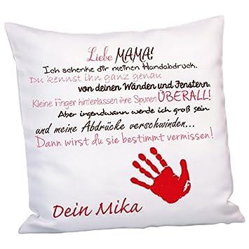 Kissen Liebe Mama Rot Mit Handabdruck Kuschelkissen Als