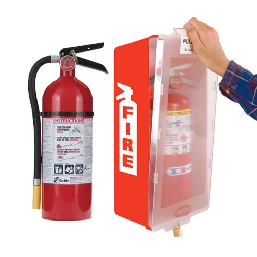 - Fire Extinguisher with Cabinet, Red Tub/Clear Cover, Kidde