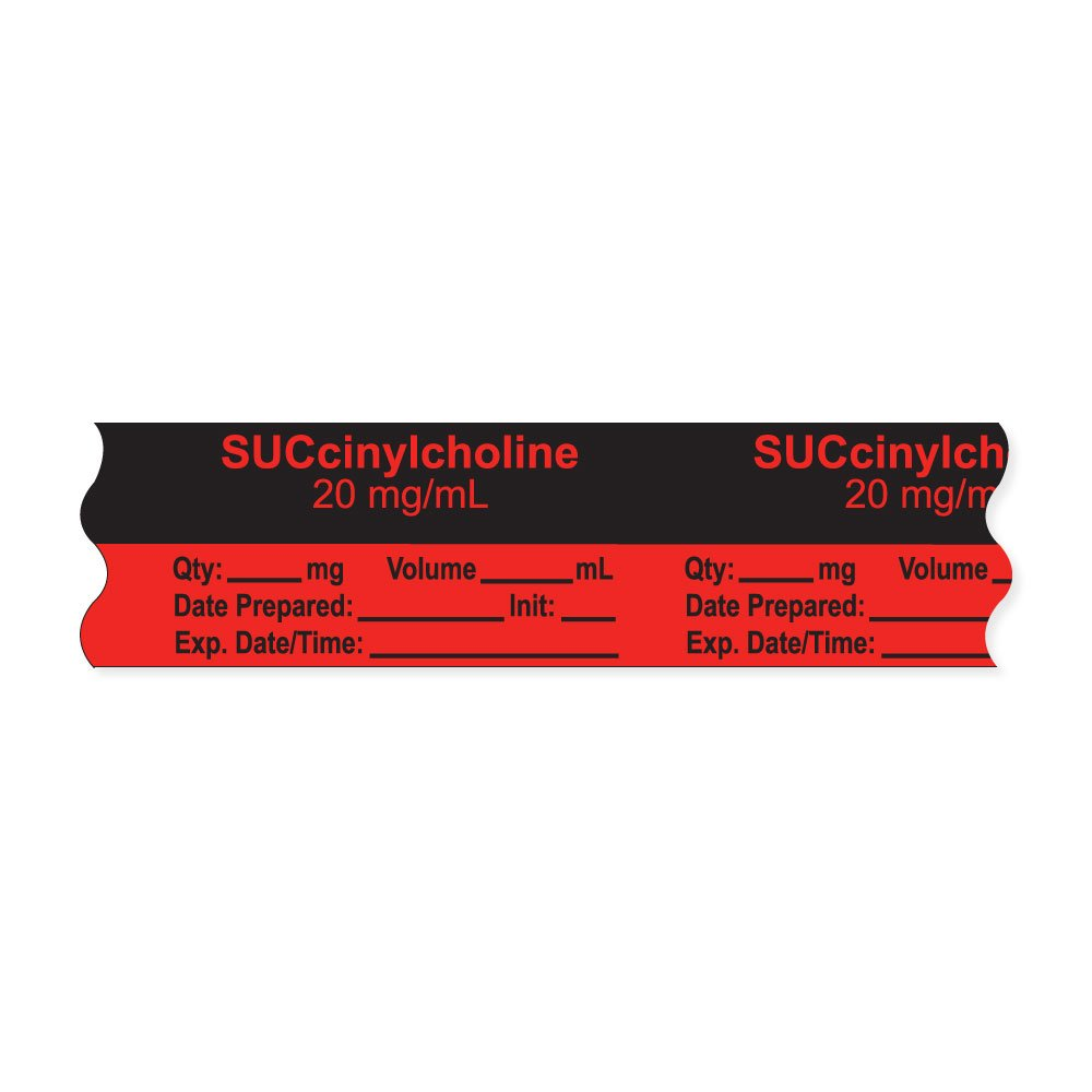 PDC Healthcare AN-2-20D20 Anesthesia Tape with Exp. Date, Time, and Initial, Removable, ''SUCcinylcholine 20 mg/mL'', 1'' Core, 3/4'' x 500'', 333 Imprints, 500 Inches per Roll, Fl. Red (Pack of 500)