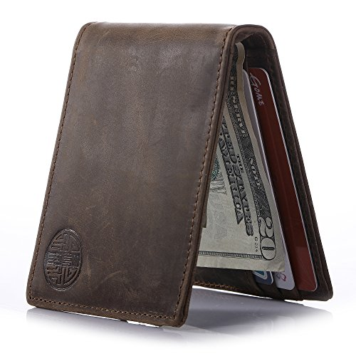 Win&Income Mens Money Clip Wallet,Bifold Slim Leather Thin Clip Wallets,Brown