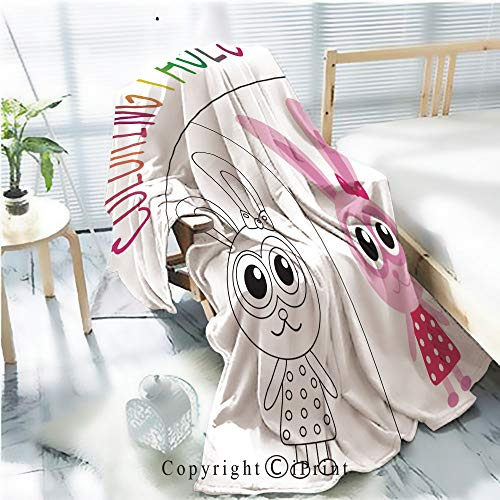 AngelSept Printed Throw Blanket Smooth and Soft Blanket,Coloring Book Page Bunny Rabbit Sketch and Color Version for Sofa Chair Bed Office Travelling Camping,Kid Baby,W31.5 x -
