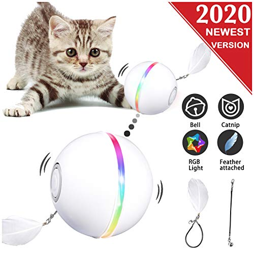 YOFUN Interactive Cat Toys, Automatic Cat Toy Ball, USB Charging Pet Toy, Built-in Spinning LED Light, Newest Version with 2 Lightening Modes & Attached Feather with Bell,Insert Catnip