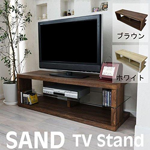 SAND テレビ台 木目調 ローボード コーナー リビングボード TV 伸張 木製 AV収納 (ホワイト) B075GDN3DS テレビ台|ホワイト ホワイト テレビ台