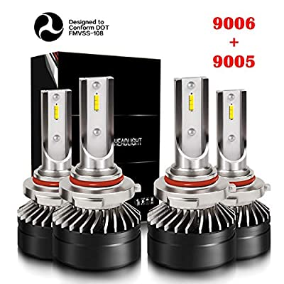 DOT Approval 9005/H10/HB3 High Beam 9006/HB4 Low Beam LED Headlight Bulbs Combo Package CSP Chips Adjustable Fog Light Conversion Kit 6000LM 6000K Crystal White Mini Size with Fan (4 Pack, 2 Sets): Automotive