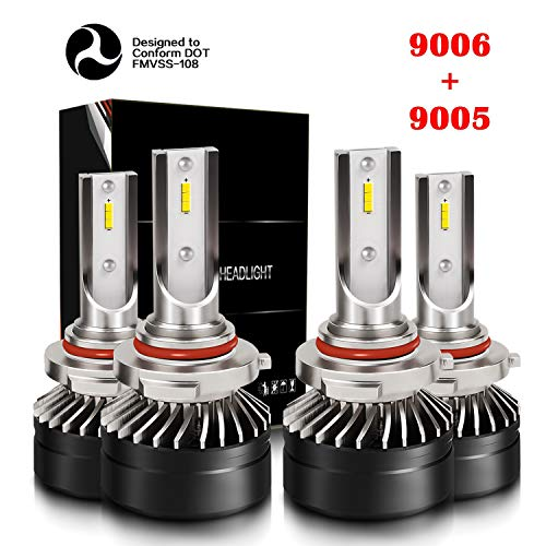 DOT Approval 9005/H10/HB3 High Beam 9006/HB4 Low Beam LED Headlight Bulbs Combo Package CSP Chips Adjustable Fog Light Conversion Kit 6000LM 6000K Crystal White Mini Size with Fan (4 Pack, 2 Sets)