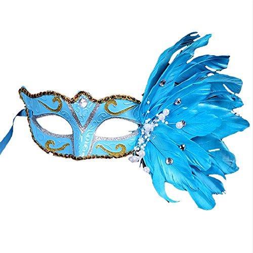 Maxi Pad Halloween Costume For Sale (Masquerade Mask Halloween Coxeer Venetian Mask Mardi Gras Mask Halloween Costume Feather Mask for Halloween (Blue))