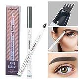 Tattoo Eyebrow Pen by PrettyDiva, Waterproof Long Lasting Smudgeproof Tint Ink Brow Gel for Creating Natural Eye Makeup(Grey)