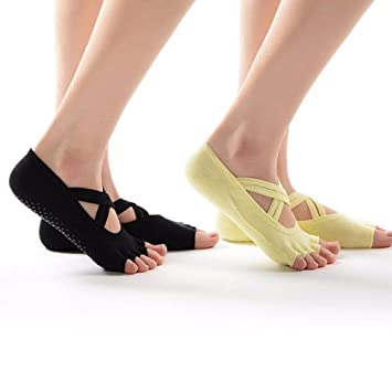 Liuxc Calcetines de yoga Calcetines de Danza del Ejercicio, 2 Calcetines de Yoga de Suelo
