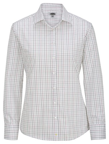 Edwards Women's Long Sleeve Patterned Dress Shirt, Brick, X-Large