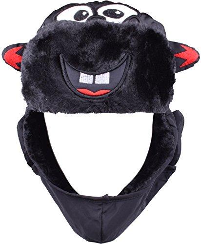 Russian Black Hat Winter Trappers Hats Ushanka Style Boys Girls Windproof Mask