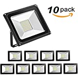 10 Pack-50W Led Flood Light,Outdoor Spotlight,Waterproof IP65,2800-3000K,5500lm, Super Bright Security Lights for Garage, Garden, Lawn,Yard and Playground (warm White)