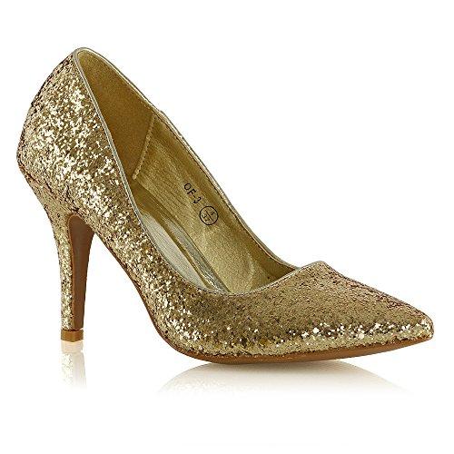 Essex Glam Donna Scarpe A Punta Chiuse Scarpe Con Tacco A Spillo Pumps Glitter Oro