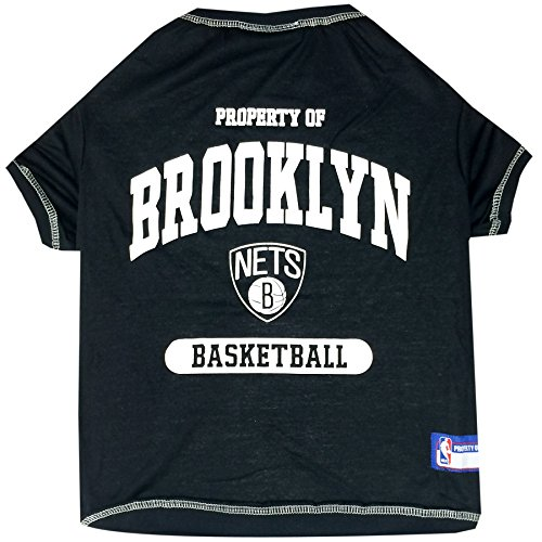 NBA Brooklyn NETS T-Shirt for Dog, T-Shirt for cat, Size: Medium. - A Sports Licensed Shirt for Any Occasion!