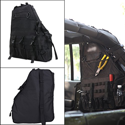 Rear Roll Cage Multi-Pockets Organizers Storage Cargo Bag Saddlebag Tool Kits Tissue Gadget Holder for Jeep Wrangler JK 4-door 2007-2016 Right side (Saddlebag Tool Kit)