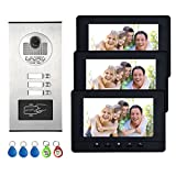 AMOCAM 3 Units Apartment Intercom System, Video Intercom Video Door Phone Kit, HD
