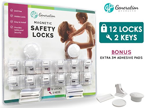 Generation Products Magnetic Cabinet Locks - Baby Drawer & Cabinet Safety No drilling 3M Adhesive Tape 12 Locks 2 Keys Child Proof Safety Locking System