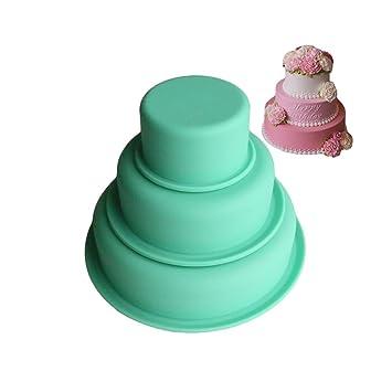 Juego de 3 Silicona Redondo pastel Forma Molde Silicona Moldes para pasteles y tartas Hornear 8/15/20 cm (Color aleatorio): Amazon.es: Hogar