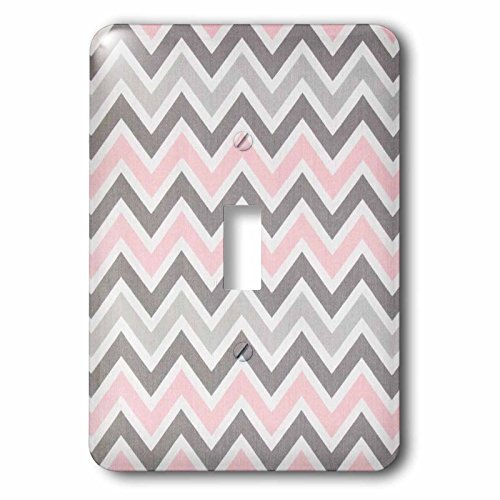 3dRose LLC lsp_60535_1 Pink N Gray Zig Zag Stripes Single Toggle -
