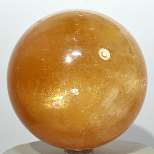 Large 2 9  1 3Lb Rainbow Orange Iceland Spar Sphere Natural Golden Sparkling Crystal Ball Optical Calcite Mineral Polished Stone   China   Plastic Stand