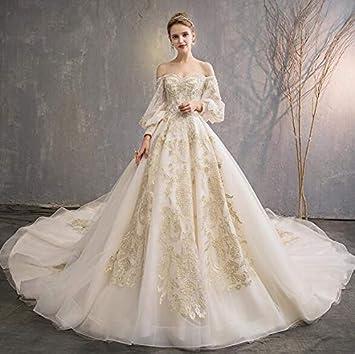 Amazon Com Wedding Dress High End Luxurious Simple Long Sleeve