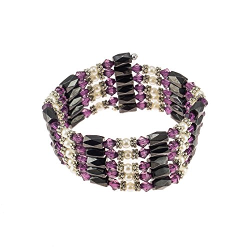 - Magnetic Hematite Beaded Wrap Bracelet, Anklet or Necklace with Genuine Fresh Water Pearls & Purple Beads