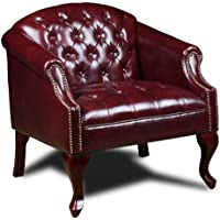 Boss Office Products BR99801-BY Classic Traditional Button Tufted Club Chair in Oxblood