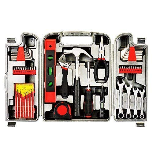 Tools General 53 Piece Tool Set Homeowner's Kit Toolbox Household Hand Plastic Storage Case Red Color ()