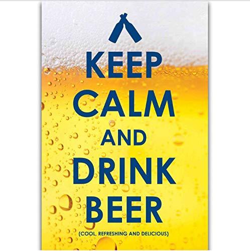 tgbhujk Mantenga la Calma y beba Cerveza Gracioso Arte de la ...