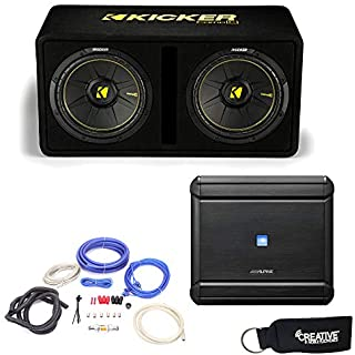 Sale Off Alpine MRV-M500 Amplifier and a Kicker DCWC122 Dual CompC 12' Subwoofers in Ported Enclosure 2-Ohm - Includes Wire kit