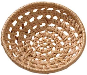 MNTT Natural Wicker Fruit Basket Bread Basket,Handmade Weaving Hand-Woven Fruit Food Craft Rattan Tray Storage(Round S)