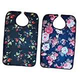 MagiDeal 2pcs Washable Waterproof Adults Elder Mealtime Protector Disability Aid Bibs