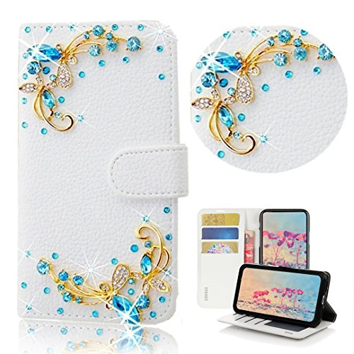 STENES Bling Case Compatible with ZTE Maven 3 - Stylish - 3D Handmade Crystal Pretty Butterfly Design Magnetic Wallet Leather Cover Compatible with ZTE Maven 3 - Blue
