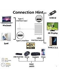 Aeifond   Adaptador de USB C a HDMI (USB 3.0, USB C 3.1, para MacBook12, Mac Pro13 15 (2016 2017),  Chromebook, Note9)