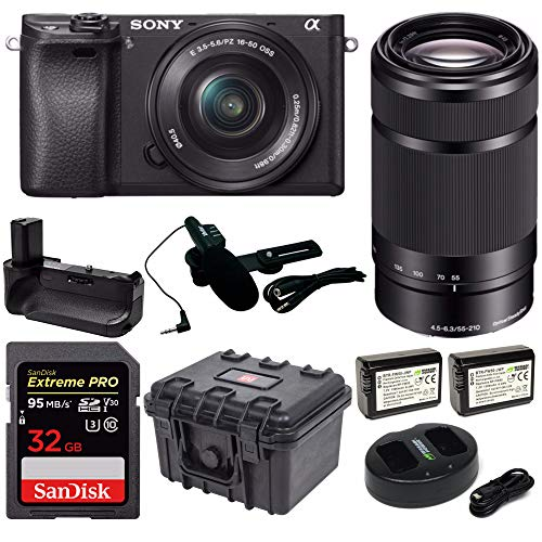 Sony Alpha a6300 Mirrorless Digital Camera, 16-50mm + 55-210mm Lenses + Battery Power Grip, Extreme PRO 32GB