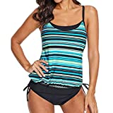 Winsummer Bathing Suit Women 2 Piece Tribal Printed Racerback Tankini Swimsuits with Boyshorts Swimwear Green